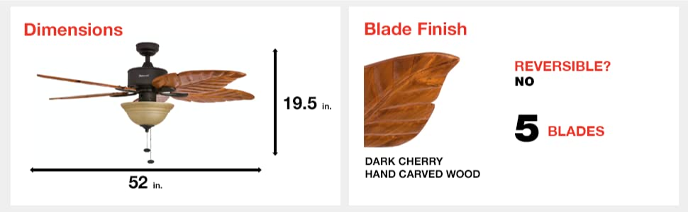 fan dimensions, blade finish, dark cherry, hand carved wood, 5 blades, reversible, no, 52 in, 19.5
