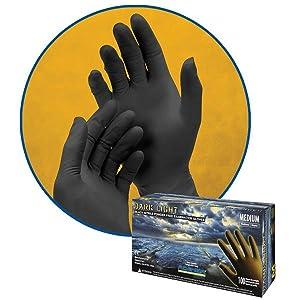 Dark Light Black Nitrile Disposable Gloves Auto Mechanic 9mil textured