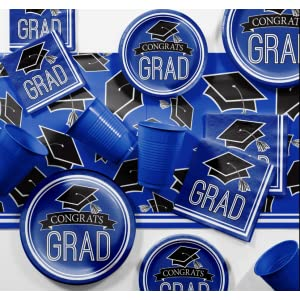 blue grad party supplies