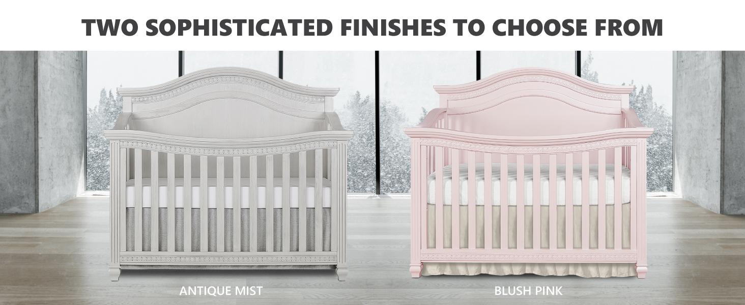 pink crib, baby girl crib, grey crib, gray crib, 5 in 1 crib, luxury crib, baby boy crib, baby crib