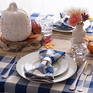 Navy Buffalo Check Tablecloth and Napkin