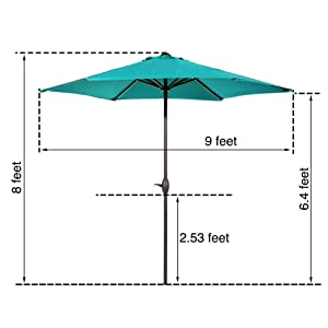 9 ft, 9 feet, 9' patio umbrella