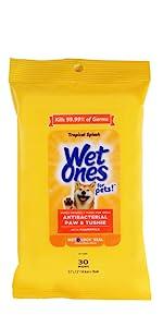 Wet Ones, Pets, Cats, Dog, Wipes, Antibacterial, Tropical Splash, Puppy