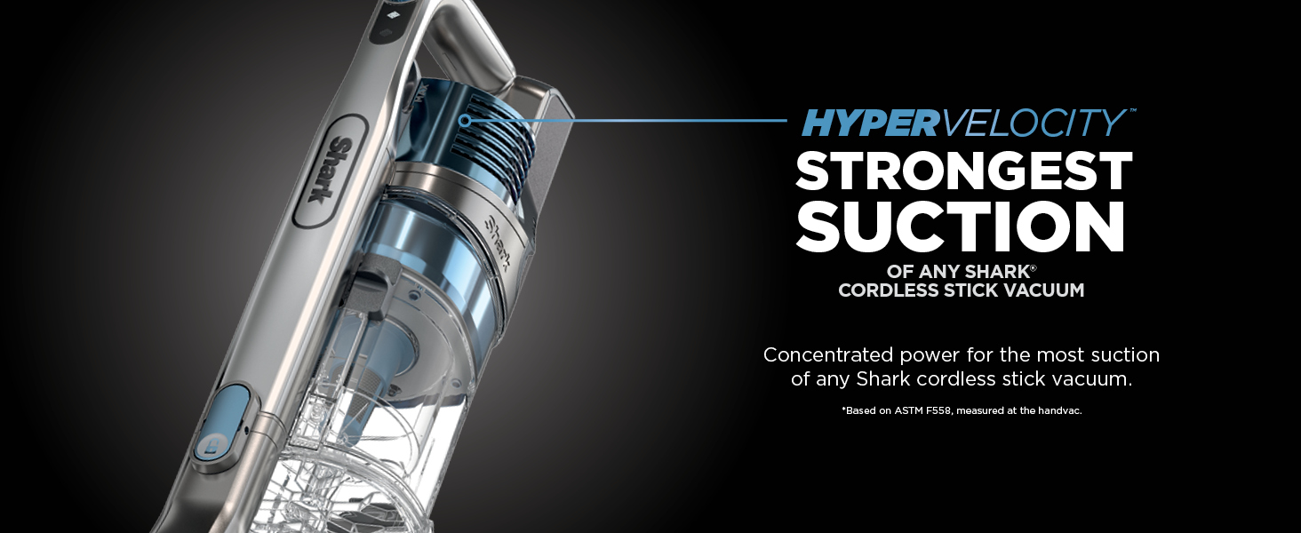 hypervelocity, strong suction, most suction, powerful stick vacuum, cordless stick vacuum