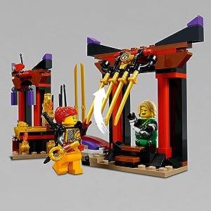 LEGO Ninjago - Duelo en la Sala del Trono, Juguete de Construcción con Minifiguras de Guerreros Ninja para Crear Aventuras para Niños y Niñas de 6 a ...