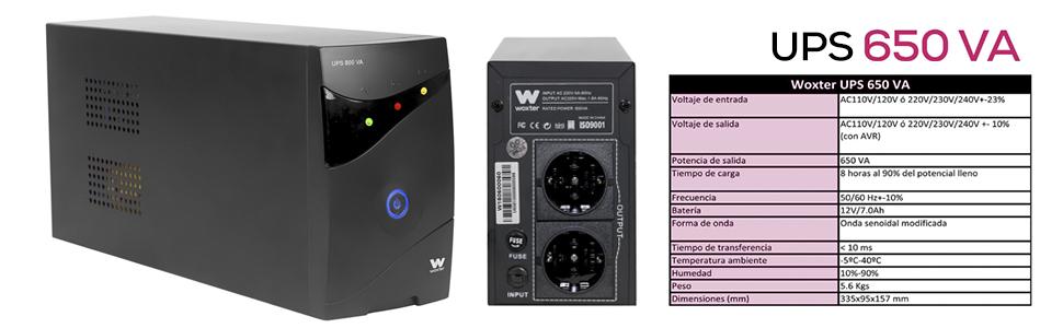 Woxter UPS 650 VA - Sistema SAI de Alimentación Ininterrumpida SAI (650VA/360 watts, autonomía aprox 8 minutos), Fuente de alimentación Continua