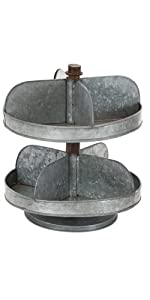 fc48d5b3da Deco 79 20270 Farmhouse Galvanized Iron Milk Can Pots · Deco 79 38174  Farmhouse Galvanized Serving Trays · Deco 79 49204 Farmhouse 2-Tiered  Galvanized Tray ...
