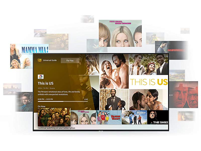 UHD TV with Universal Guide on screen