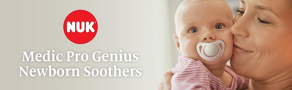 Entièrement neuf sous emballage Baby NUK genius Twin Pack tétines sucettes tétine 6-18mth Rose /& Blanc