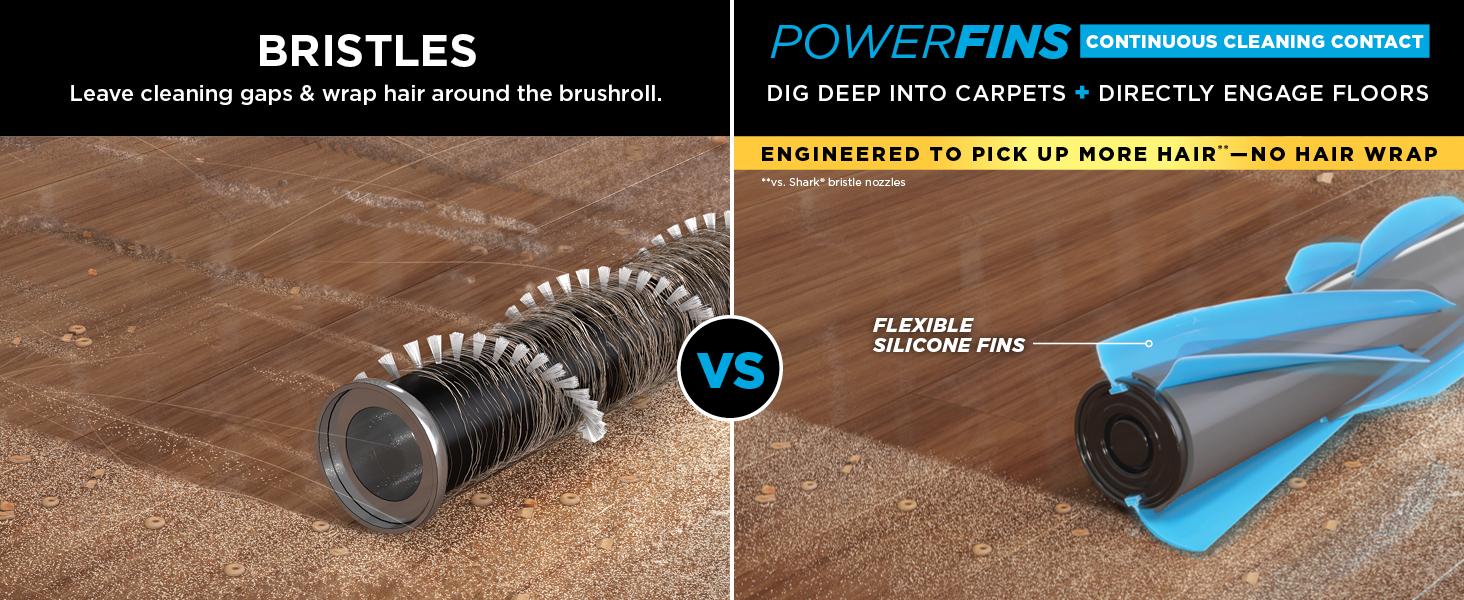 powerfins, deep clean carpets, hard floor vacuum, hardwood vacuum