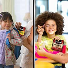 Mom putting a Jack Links snack pack in a kid's backpack and a kid enjoying a snack pack bite