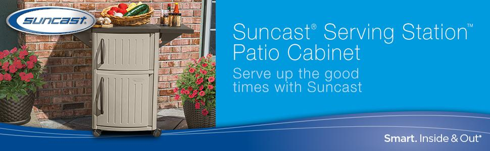 Gear up for summer with the Suncast Outdoor Prep Station. Available in light, neutral and fade-resistant taupe, with mocha accents, this compact outdoor prep station features two storage cabinets and 40 inches of convenient counter space for serving up refreshments and snacks.