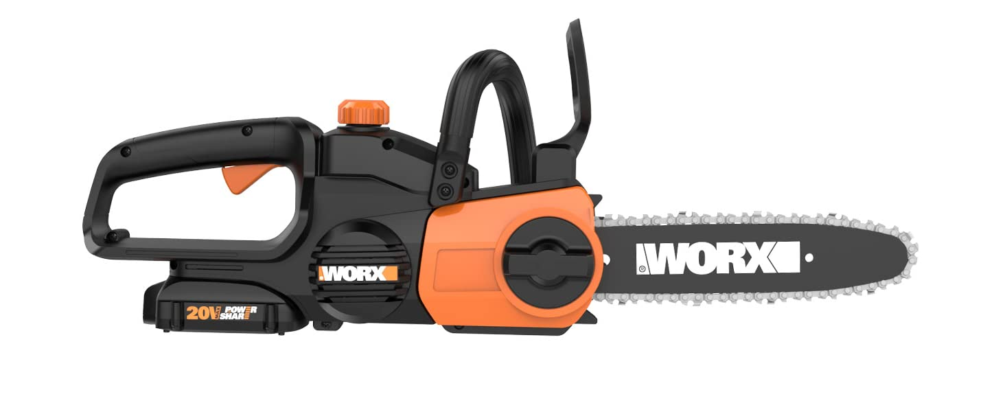 """key features and benefits of the WG322 cordless 20V Power Share 10"""" chainsaw"""