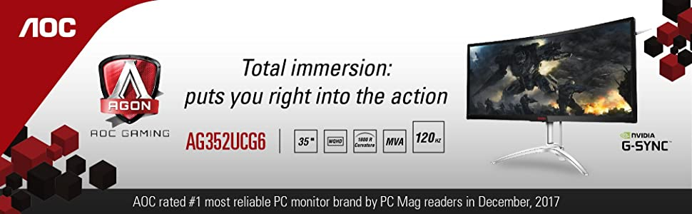 "AOC AGON AG352UCG6 35"" Curved Gaming Monitor,"