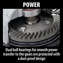 power dual ball bearings smooth power transfer gears protected dust proof design inside tool