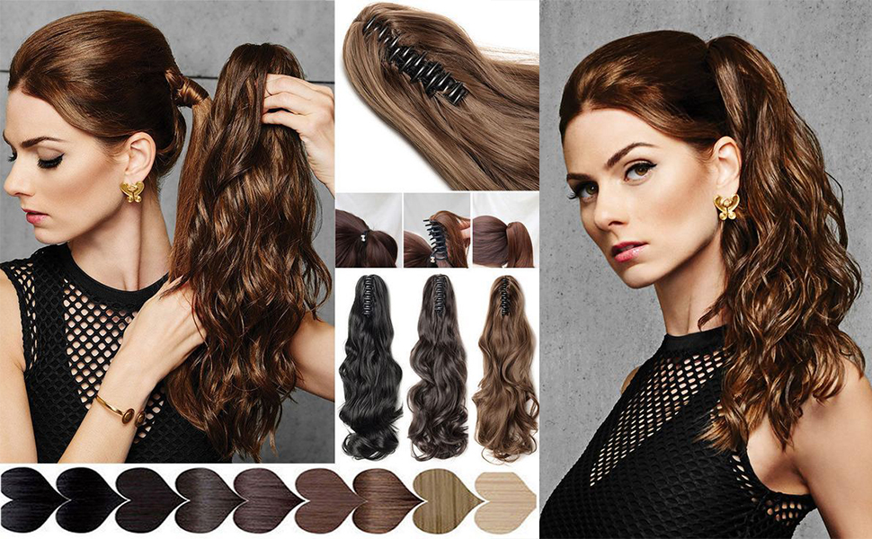 Claw Ponytail Extension Clip in Hair Extension