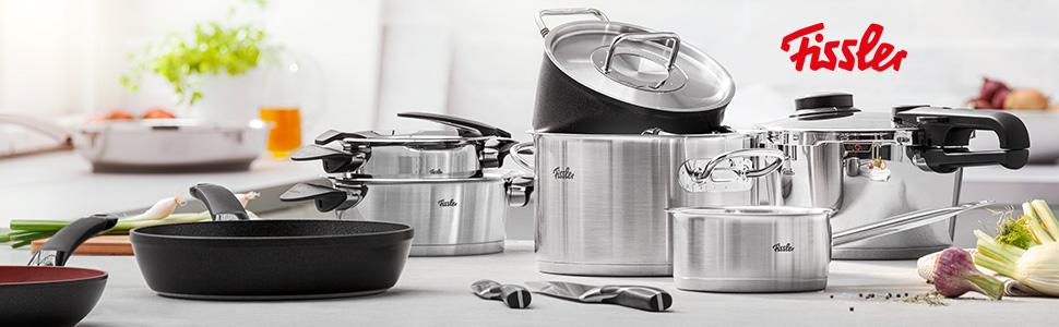 Fissler Original-Profi Collection Batería 5 Piezas, para Todo Tipo de cocinas, Acero Inoxidable 18/10, Plateado