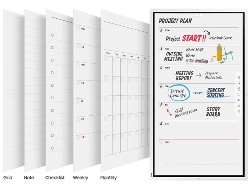 Grid, note, checklist, weekly, and monthly calendar templates