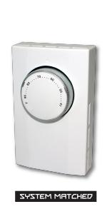 bi-metal sensing analog rotary dial non-programmable wall mount heater baseboard cove heat