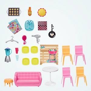 Barbie- Casa di Malibu, Playset Richiudibile su Due Piani con Accessori, Giocattolo per Bambini 3+