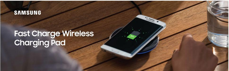 Samsung Qi Certified Fast Charge Wireless Charging Pad with 2A Wall Charger -Supports wireless charging on Qi compatible smartphones including the ...