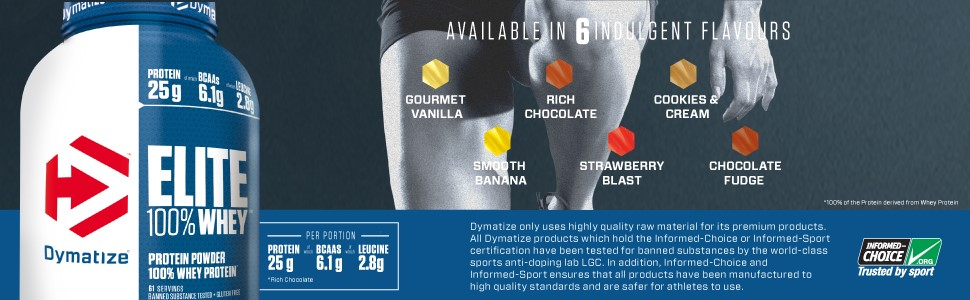Dymatize, 100% Elite Whey, 6 Flavours, Indulgent, Peanut, Chocolate