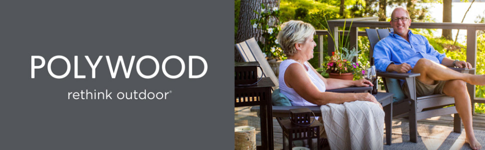 Man and woman relaxing in Polywood adirondack chairs