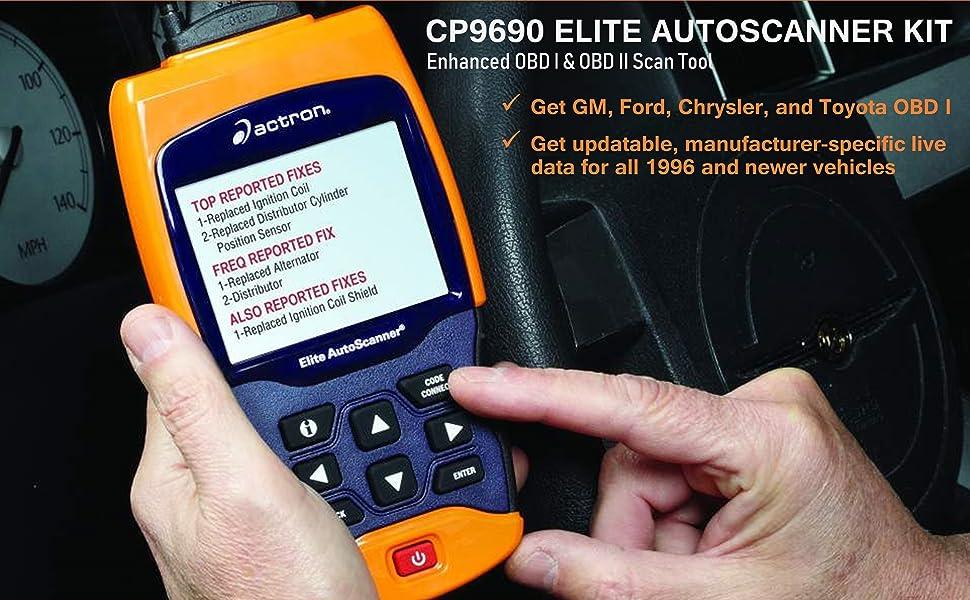 Actron CP9690 Elite Autoscanner OBD I 1 OBD II 2 Diagnostic Scan Scanner Tool Code Reader