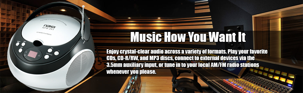 music,crystal,audio,variety, formats,AM,FM,CD,MP3,LOCAL,RADIO,EVERYWHERE,3.5,auxiliary,connect