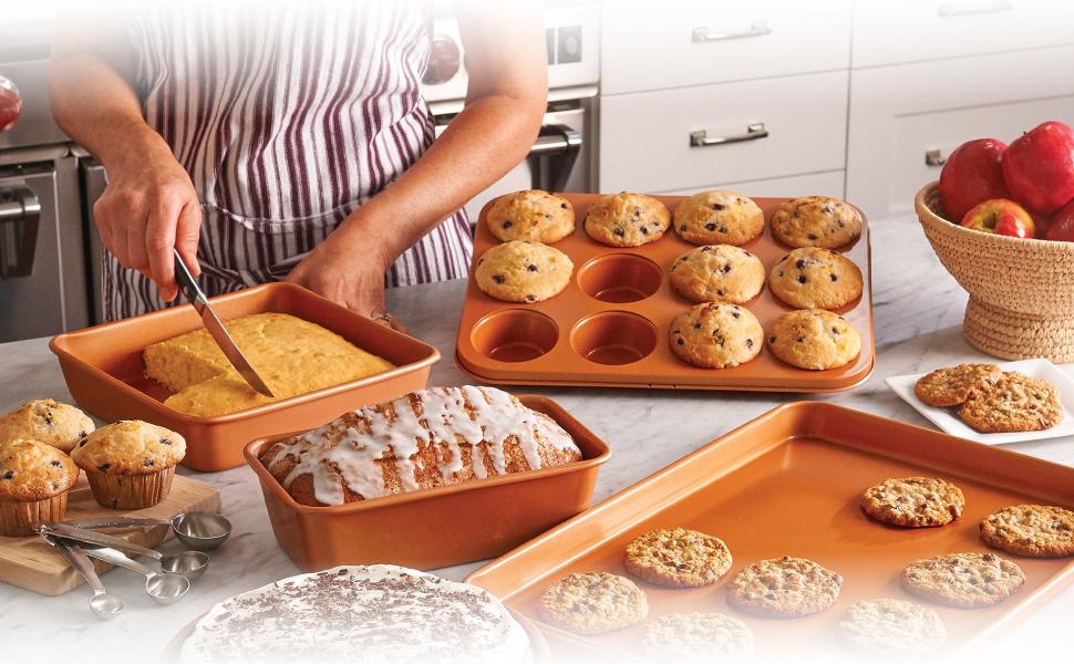 baking, gotham steel, set includes baking set, non-stick, non-toxic