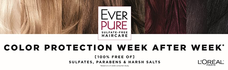 Ever, sulfate free shampoo, color treated hair, loreal, EverPure