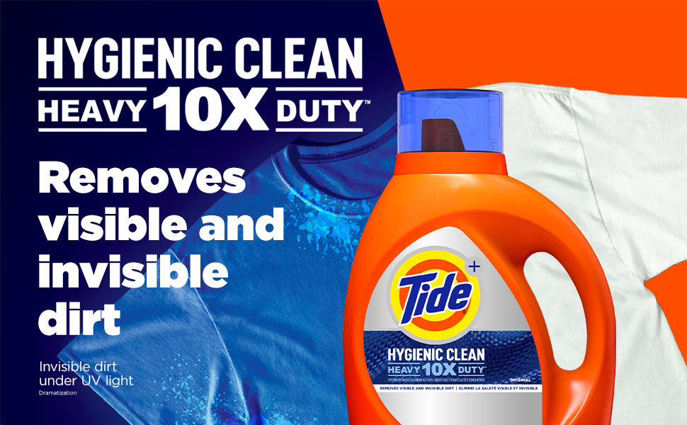 Tide Hygienic Clean Heavy Duty laundry detergent removes visible and invisible dirt