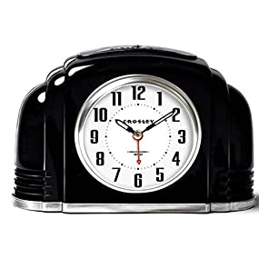 Amazon Com Crosley Vintage Analog Alarm Clock For Mantel And Bedrooms Quiet Sweep Non Ticking Automatic Smart Light Dimmable Night Ascending Beep Simple Setting Controls Battery Powered 33388b Home Kitchen