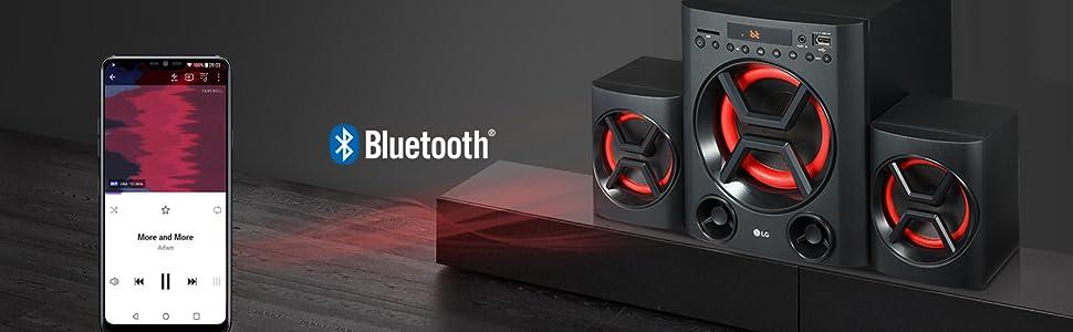 LG XBOOM LK72B - Conjunto de Altavoces 2.1 (40 W, Bluetooth, USB, Ranura Tarjeta SD, Ecualizador, Bass Blast+, Mando a distancia, Montaje en Pared) Color Negro y Rojo: Lg: Amazon.es: Electrónica