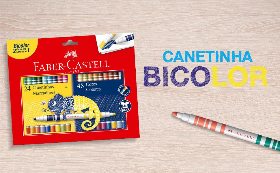 canetinhas bicolor, canetinhas coloridas, faber-castell, bicolor, colorido, colorir, canetinhas