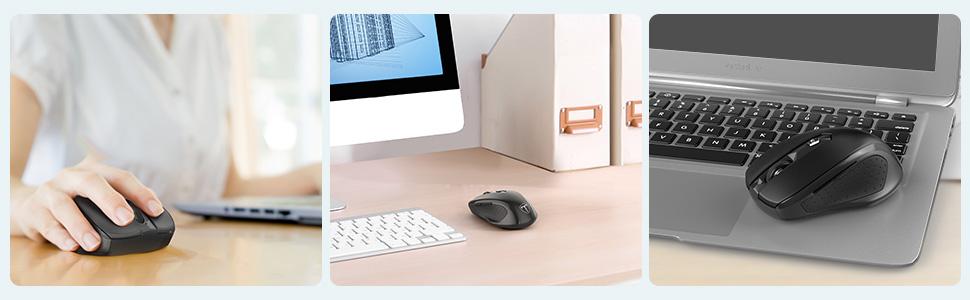 VICTSING Mini Maus kabellos Wireless Mouse, 2 4G Funkmaus, 2400 DPI 6  Tasten Optische Mäuse mit USB Nano Empfänger Für PC Laptop iMac Macbook