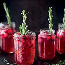 Home-made iced tea with cranberries
