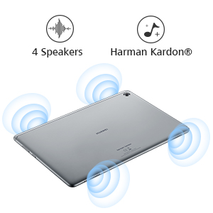Co-engineered with Harman Kardon, the tablet's quad-speaker system delivers fine-tuned