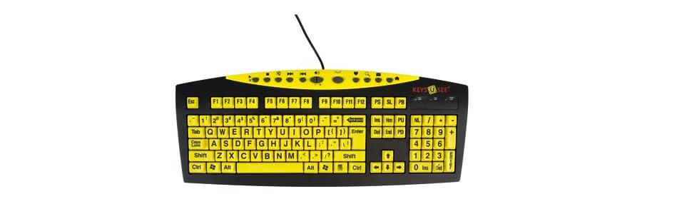 ablenet keys u see large print us english usb wired keyboard yellow mag0428. Black Bedroom Furniture Sets. Home Design Ideas