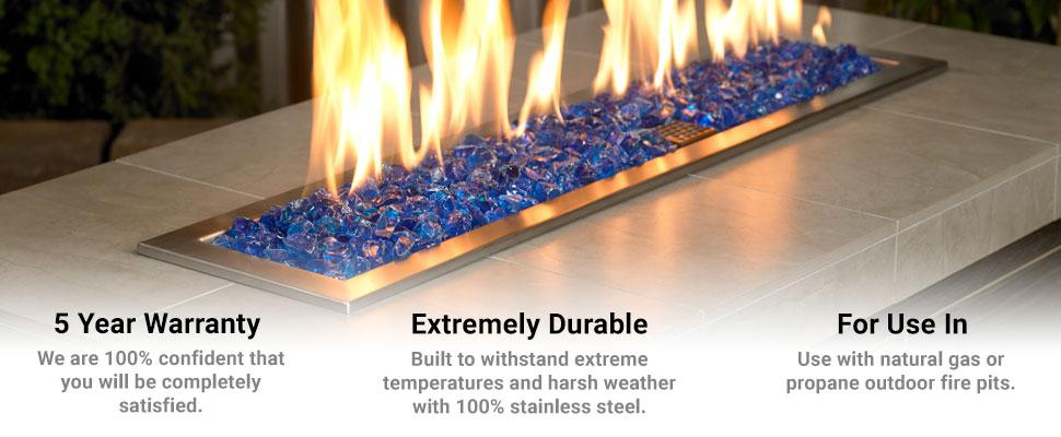 American Fire Glass Stainless Steel Drop-In Fire Pit Pan and Burner - Amazon.com : American Fireglass Stainless Steel Drop-In Fire Pit Pan