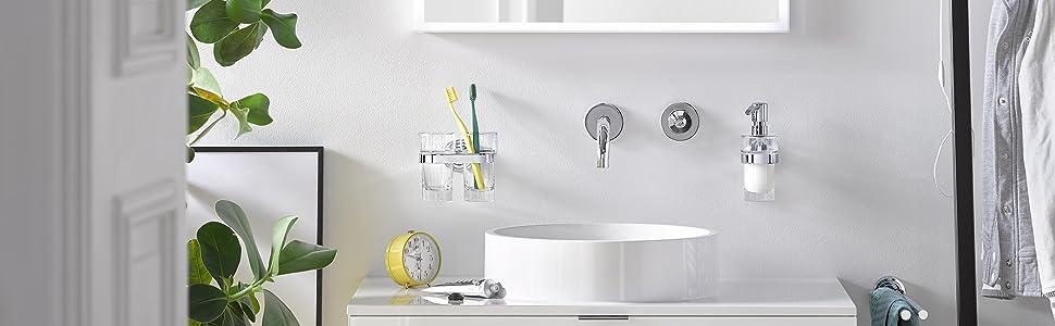 Liaison accessoire, toiletborstelgarnituur, dubbele haak, handdoekhouder, zeepdispenser, glashouder