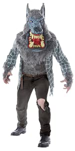 Monster, Wolf, Werewolf, Big Mouth Mask, Men's Costume, Halloween, Full Moon, Thriller, Haunted