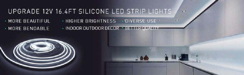 Dimmable Warm White LED Light Strip, Lamomo 3000K Flexible White Neon Light  Premium High Density 16 4 Ft/5m 600 LEDs, UL-Listed Upgrade Silicone LED