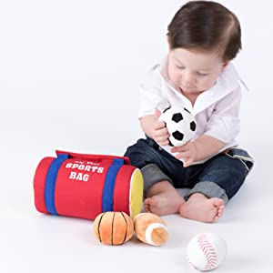 little boy baby newborn duffel bag sports bag baseball soccer football basketball playset plush soft