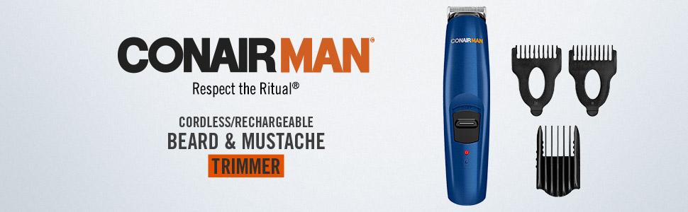 ConairMAN Cordless/Rechargeable Beard trimmer, Mustache trimmer, trimmer for men, respect the ritual