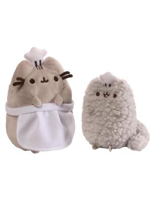 GUND Pusheen and Stormy Baking Stuffed Animal Plush, Collector Set of 2, Gray