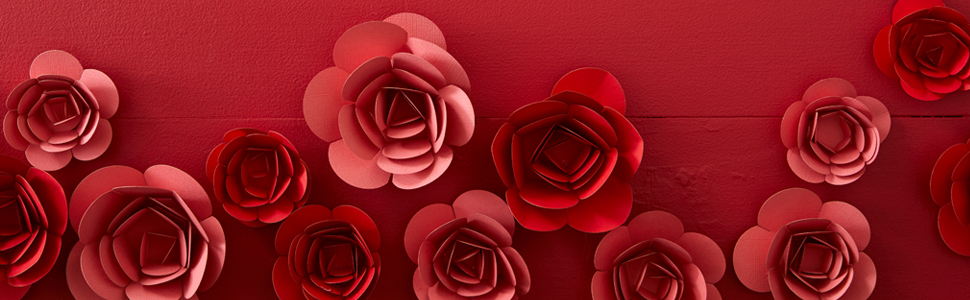 Red and pink paper flowers for Valentines gift bags, greeting cards and pop up cards for him and her