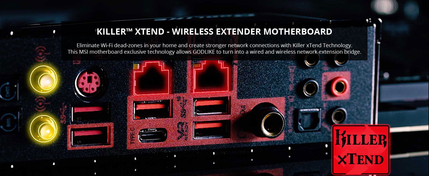 msi meg x570 godlike killer xtend network wireless extender lan