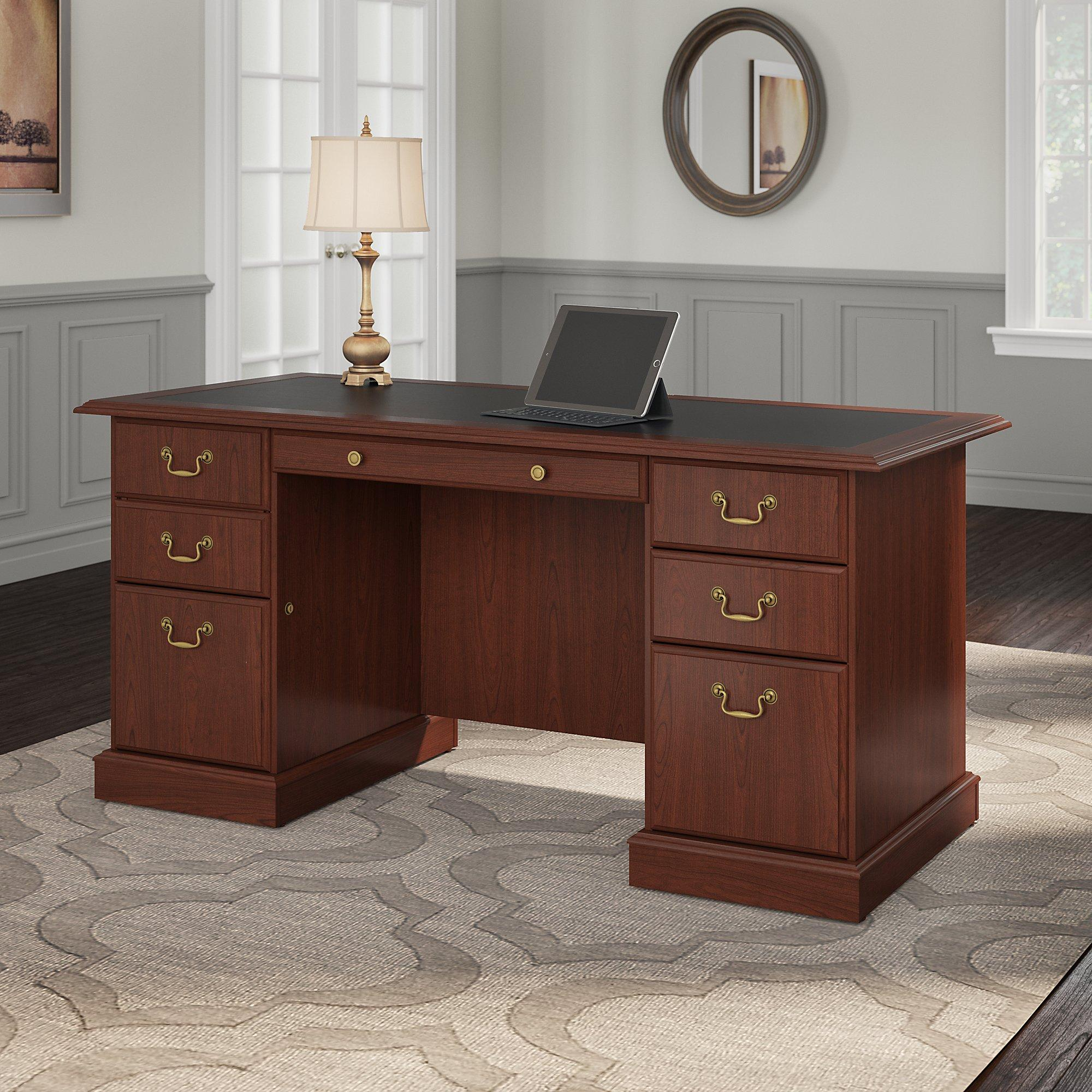 Amazon Com Bush Furniture Saratoga Executive Desk In