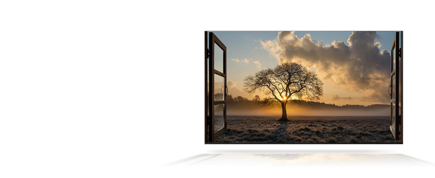 Scene of a sunset through an open window